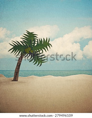 coconut tree paper and beach background (retro style) - stock photo