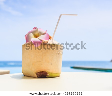 Coconut water drink and Swimming pool