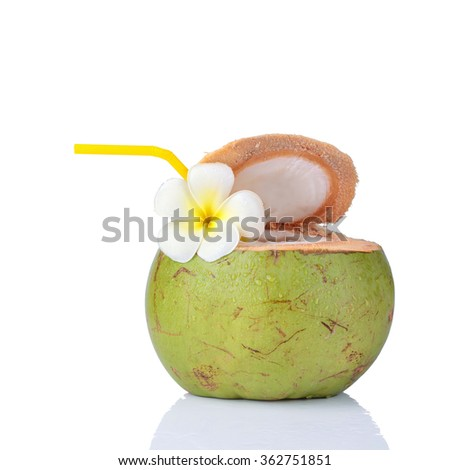 Coconut Water Drink, beach cafe, plumeria flower isolated on white background. This has clipping path. - stock photo