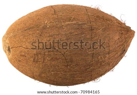 Coconut with crack isolated on white background