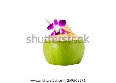 Coconut with drinking straw and beautiful orchid isolated on white background - stock photo