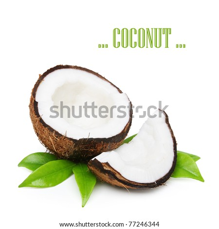 Coconut with green leaves isolated on white - stock photo
