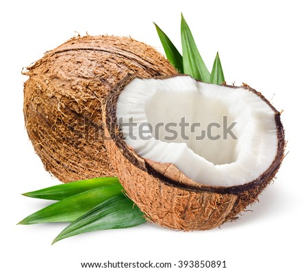 Coconut with half and leaves on white background - stock photo