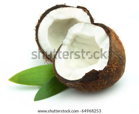 Coconut with leaves on a white background - stock photo