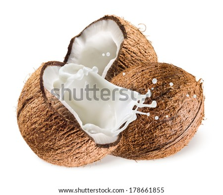 Coconut with milk splash on white background - stock photo