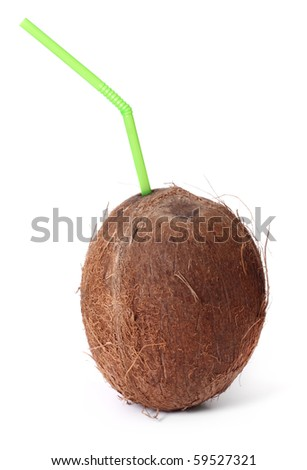 Coconut with straw isolated on white
