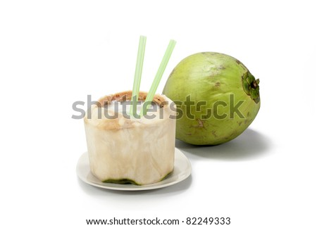 Coconut  with white background - stock photo