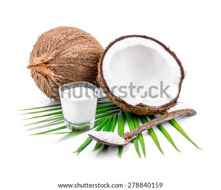 coconuts and coconut milk on white background.
