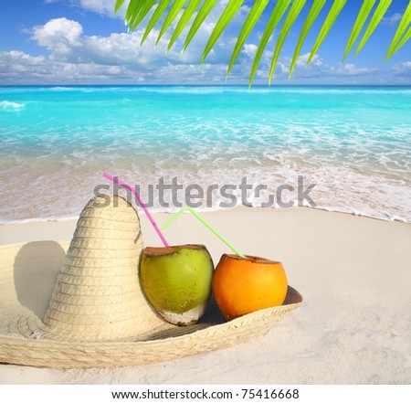 Coconuts in Caribbean beach on mexico sombrero hat tropical turquoise [Photo Illustration] - stock photo