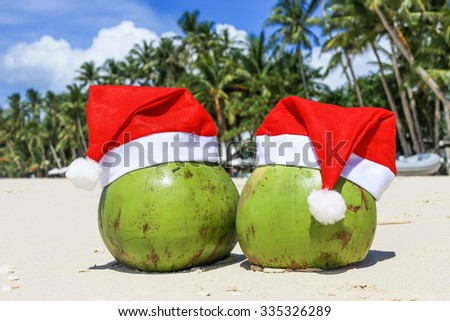 Coconuts in Santa Claus Hats on sandy beach. New Year holiday concept. Palms on the background - stock photo
