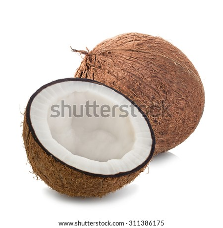 Coconuts isolated on white background - stock photo