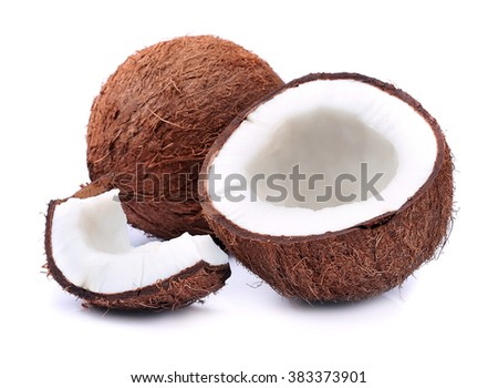 Coconuts on a white background - stock photo