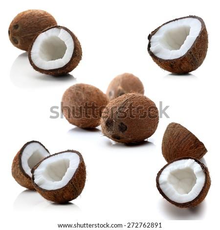 Coconuts on white background - studio shot - stock photo
