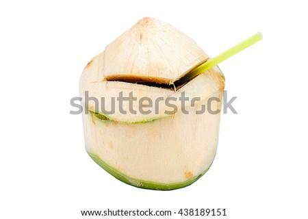 Coconuts with straw isolated on a white background.