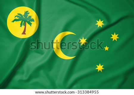 Cocos Islands flag on soft and smooth silk texture  - stock photo