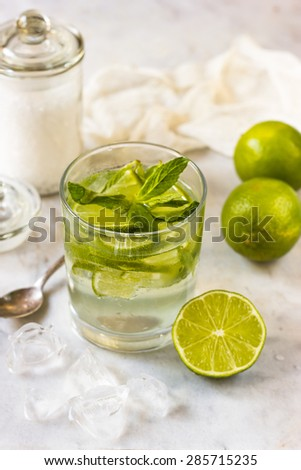 coctail mojito with ice - stock photo