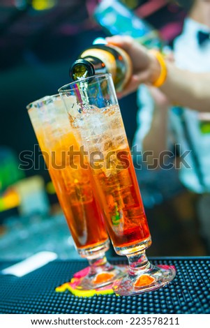 coctails in night club - stock photo
