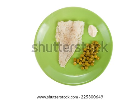 cod fillet with green peas and horseradish sauce on a green plate  Isolated on white background - stock photo