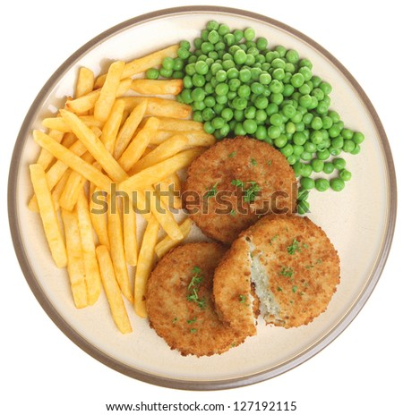 Cod fishcakes with fries and peas.