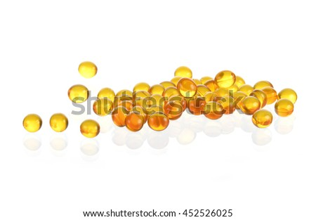 Cod liver oil isolated on white background.