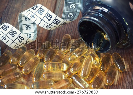 Cod liver oil omega 3 gel capsules - stock photo