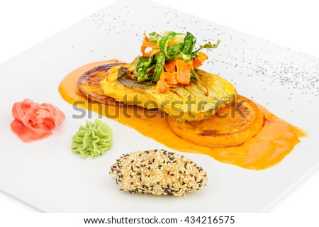 Cod sliced fillet fried in tom yam sauce - stock photo