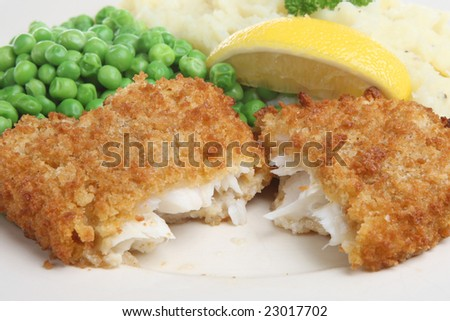 Cod steak with mash and peas