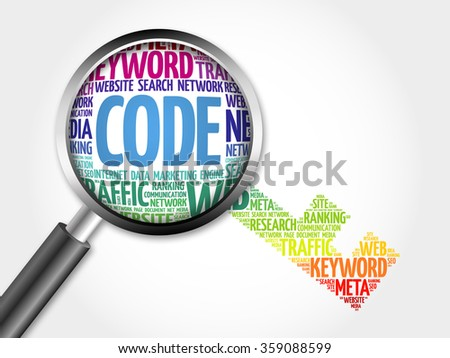Code Key word cloud with magnifying glass, business concept - stock photo