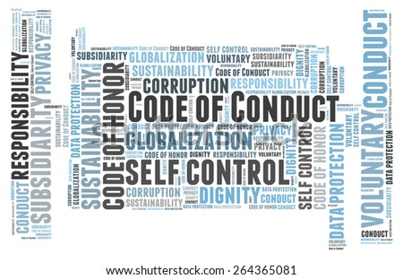 Code of conduct word cloud - stock photo