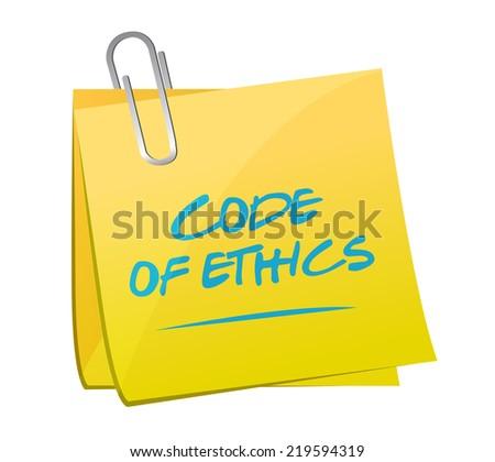 code of ethics memo post illustration design over a white background - stock photo