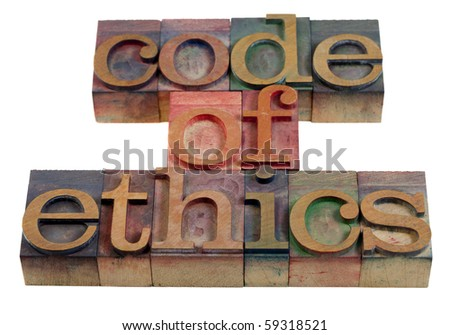 code of ethics words or headline - vintage wooden letterpress printing blocks stained by color inks - stock photo
