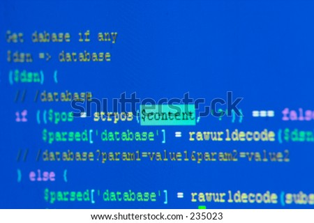 "Code with word ""content"" in focus - stock photo"