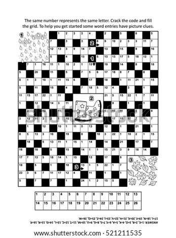 codebreaker or codeword or code cracker crossword puzzle or word game with 9