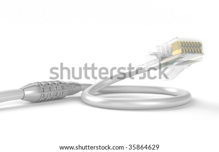 Coded lock on a network cable, on a white background - stock photo