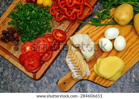codfish and potatoes - stock photo