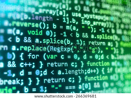 Coding application developer. Programmer developer screen, web app coding. Script on computer. Modern display of data source code. Programming code abstract screen of software. Blue, green color.  - stock photo