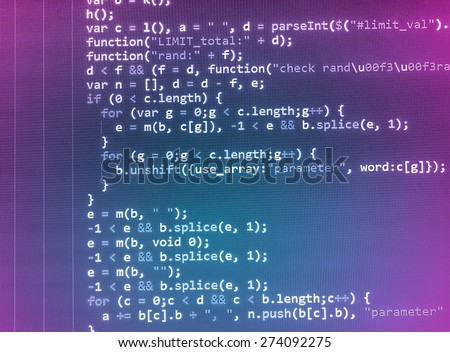 Coding programmer abstract background. Computer language script code screen. Blue violet purple pink color. - stock photo