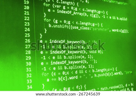 Coding programming background. Source code of software on monitor screen.  Shallow depth of field effect. - stock photo