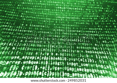 Coding programming source code screen. Colorful abstract data display. Software developer web program script. Green background color, white text chars and digits. - stock photo
