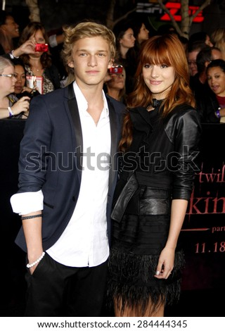 Cody Simpson and Bella Thorne at the Los Angeles premiere of 'The Twilight Saga: Breaking Dawn Part 1' held at the Nokia Theatre L.A. Live in Los Angeles on November 14, 2011.  - stock photo