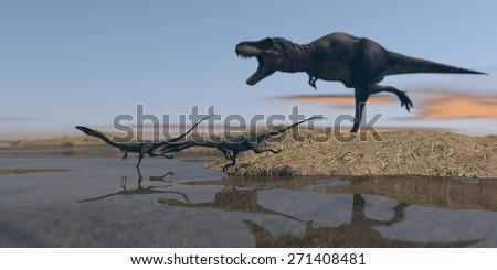 coelophysis chased by tarbosaurus - stock photo