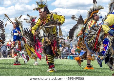 Coeur d'Alene, Idaho USA - 07-23-2016. Male native American dancers at powwow. Young dancers participate in the Julyamsh Powwow on July 23, 2016 in Coeur d'Alene, Idaho.