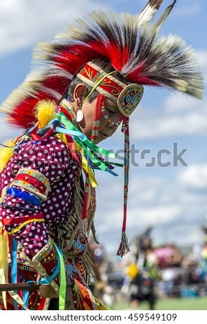 Coeur d'Alene, Idaho USA - 07-23-2016. Young male dancer. Young dancer participates in the Julyamsh Powwow on July 23, 2016 in Coeur d'Alene, Idaho.
