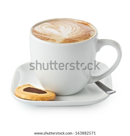 Cofe Americano with cake on white background