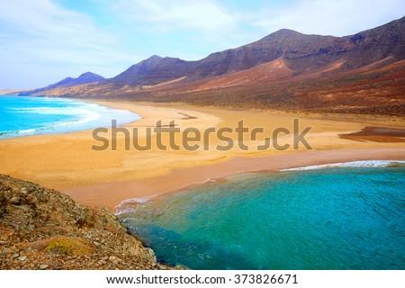 Cofete Fuerteventura Barlovento beach at Canary Islands of Spain - stock photo