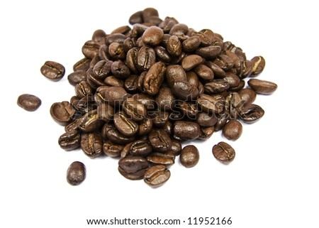 Coffe beans isolated on white background - stock photo