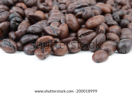 Coffe beans macro on white isolated - stock photo