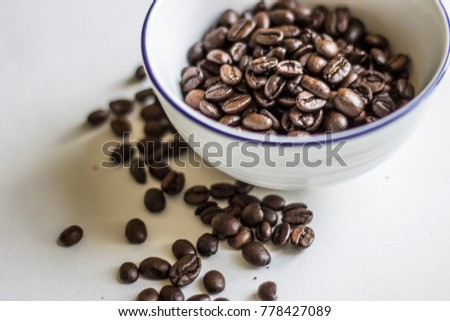 Coffe beans, white background