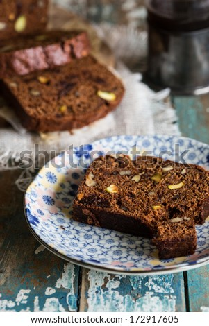 Coffe cake with dates and nuts - stock photo