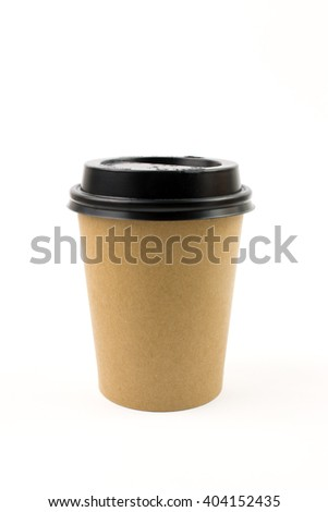 Coffe eCup in White Craft Isolated. - stock photo